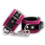 Ankelcuffs i lær, rosa