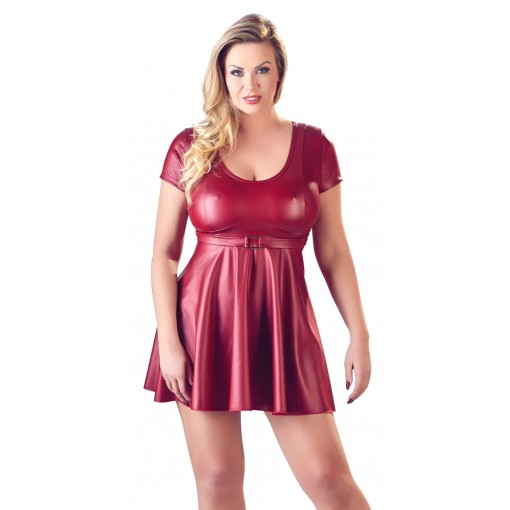 Skinnende Kjole i Rødt - Plus Size