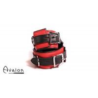 Avalon - ABDUCT - Ankelcuffs Rødt og Svart lær