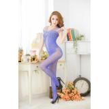 Sexy girl - Catsuit med blonder og netting - Blå