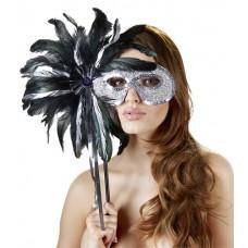 Ballmaske med pinne og fjær
