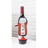 Vinflaskeforkle - Julenisse med misteltein og polkastang