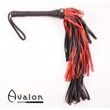 Avalon - Sort & Rød Lærflogger med graderte loop strimler