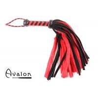 Avalon - NYMPH - Flogger med Lær og Pels, Sort og Rød