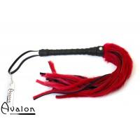 Avalon - GRIFFIN - Flogger med Lær og Pels, Rød og Svart