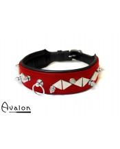 Avalon - Collar med spisse og flate nagler - Rødt