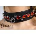 Avalon - DEFIANCE - Collar med Spisse Nagler og Røde Steiner - Svart - Matt