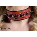 Avalon - CHERISHED - Collar med Spisse Nagler og Ringer - Rødt og Svart