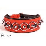 Avalon - Collar med spisse nagler og ringer - Rød og sort