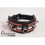 Avalon - Collar med spisse nagler og strass - Sort og Rød