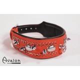 Avalon - Collar med spisse nagler og strass - Rød og sort