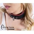 Avalon - VICTORY - Enkel Collar med D-ringer og polstring, Sort og Rød