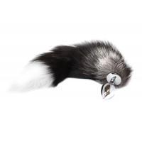 BQS - Silver Fox - Sort og Hvit Hale med Buttplug i Metall