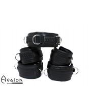 Avalon - LUST - Collar og Cuffs, 5 deler, Sort