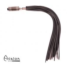 Avalon - WARLOCK - Sort lærflogger med krom og brunt metallhåndtak