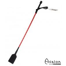 Avalon - CARESS - Klassisk Ridepisk i Lær med stor flipp - Rød