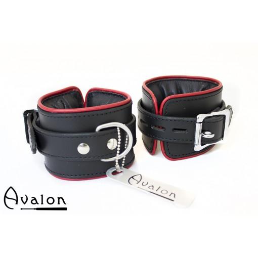 Avalon - ALCHEMY - Polstrede Håndcuffs - Sort og Rødt