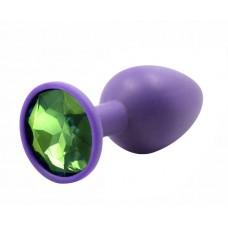 BQS - Lilla Silikonbuttplug med Krystall - Grønn